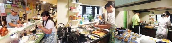 ▲ベンジャミン学校の担任の先生と一緒に「キッチンいまい」の料理メンターから学ぶ池上茉莉香さん