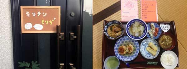 ▲左は茉莉香さんが作った看板、右は茉莉香さんが作った日本の家庭料理